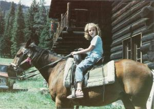 Heidi horseback riding by Bunbury in the Stacks