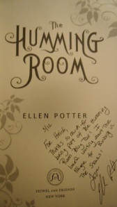 The Humming Room signed and personalized by Ellen Potter for Bunbury in the Stacks